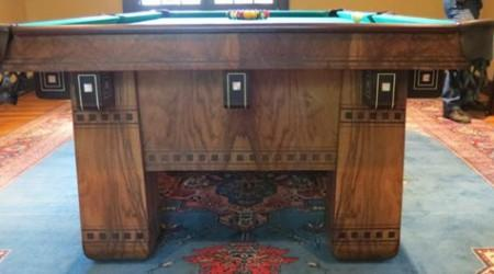 End view of Alexandria billiard table after restoration