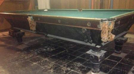 Ebonized Benedict billiards table antique (before restoration)