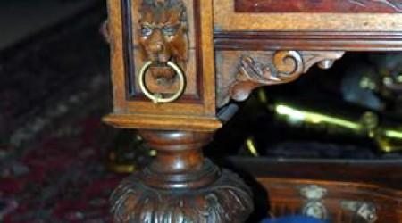 The leg of The European II, antique pool table