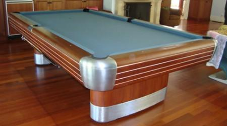 Restored antique pool table, The Brunswick Anniversary