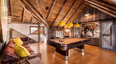 Complete room setup with restored Anniversary billiards table