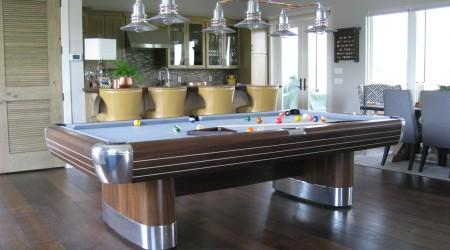Antique Anniversary billiards table in a modern setting