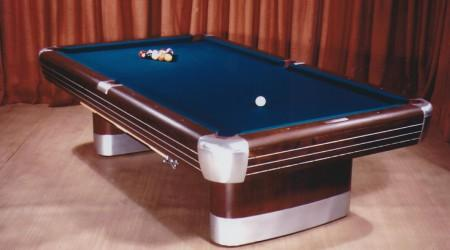 Antique Anniversary billiards table on display