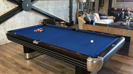 Restored antique Brunswick Balke Collender Anniversary pool table