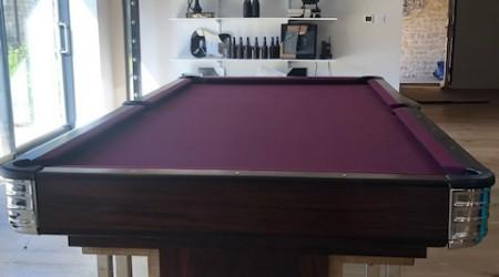 End view: Exposition billiards table, professionially restored