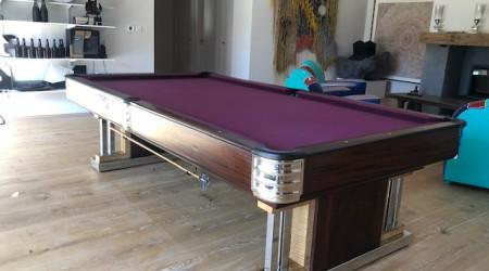 Angle view: Exposition billiards table, restored antique
