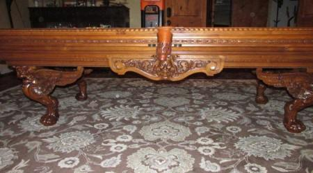 Side view antique F. Gerderes billiards table