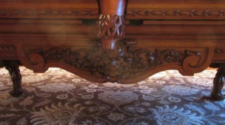 Carving details of  antique F. Gerderes billiards table