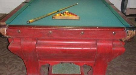 Antique F.X. Ganther billiards table, before restoration