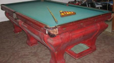 Before restoration - antique pool table F.X. Ganther