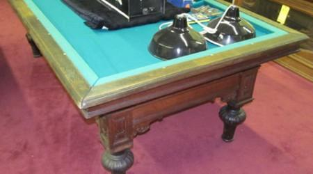 In need of restoration,  The G. Lambrechts antique pool table