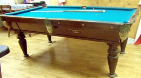 Restored J.E. Came Harvest antique pool table