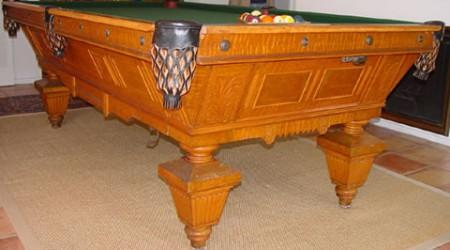 Billiards table, August Jungblut Manattan, fully restored antique