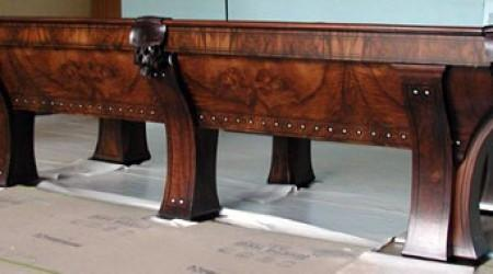 Antique restoration of a Marquette billiard table