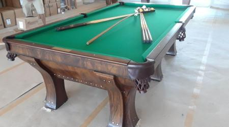 Antique Marquette pool table after restoration