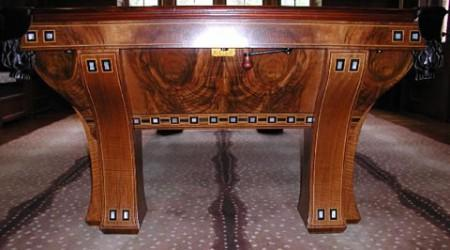 Antique restoration of a custom Marquette pool table