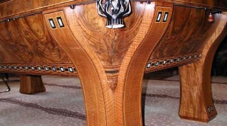 Pocket view of a custom Marquette billiards table