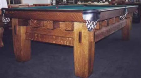 "Fully restored Old Mission Style ""B"" antique billiards table"