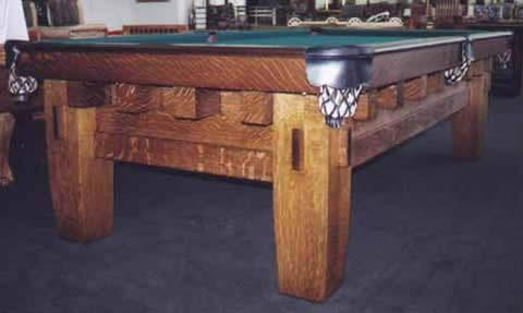 The Old Mission Style B Antique Billiard Table - Brunswick mission pool table