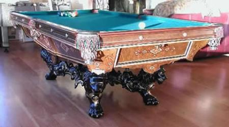 Restored Brunswick Monarch pool table