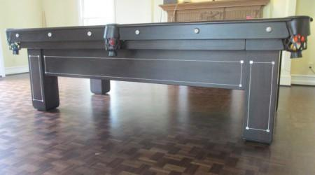 "Side view: restored ""Monroe"" antique pool table"