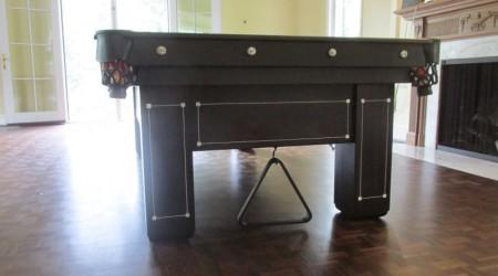 "End view: restored ""Monroe"" antique pool table"