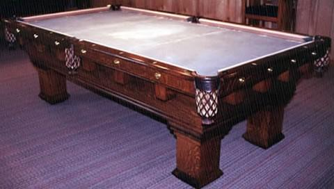 The Monterey Mission Original Restored Antique Pool Table - Brunswick mission pool table