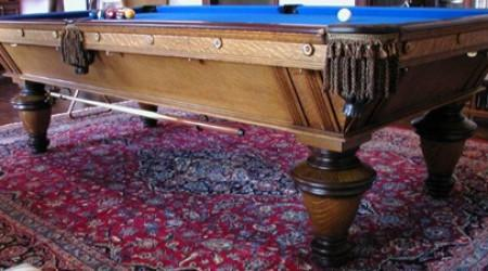 Antique Narragansett billiards table, side view