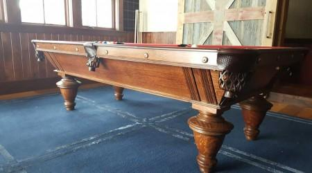 Side view of restored antique Narragansett billiards table