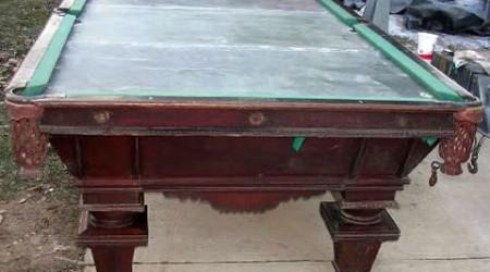 National II antique billiards table prior to restoration