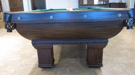 "Restored antique ""The Newport"" pool table (end view)"