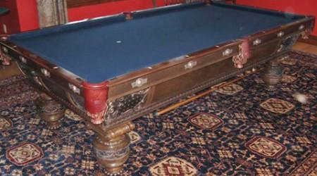 Antique Northern pool table, before restoration