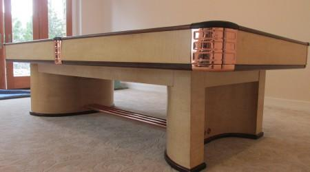 Corner view of professionally restored Paramount billiards table