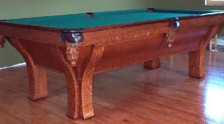 Restored antique pool table, The Rochester with 4 legs