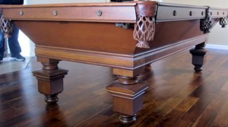 Completed restoration of The Southern, an antique Brunswick billiard table