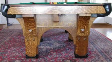 Restored St. Bernard Mission, an antique billiards table