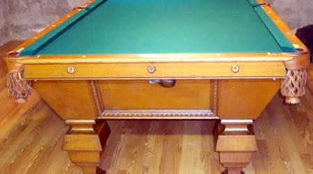 End view of The Universal, restored antique pool table