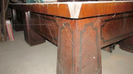 Walnut Brunswick antique pool table before restoration