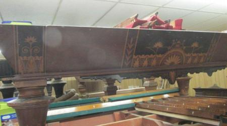 Antique W.H. Griffith Inlaid billiards table before restoration