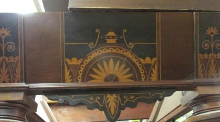 Before restoration, antique W.H. Griffith Inlaid table