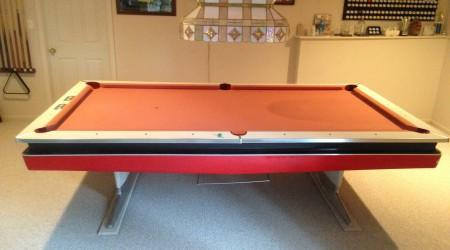 Before restoration, antique Mitchum pool table by Billiard Restoration Service