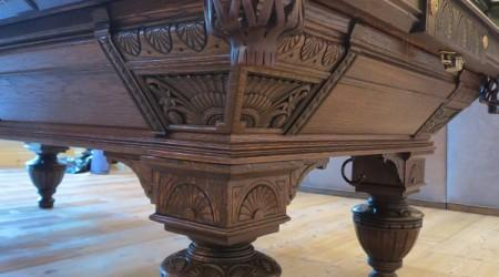 "Antique ""The Carved Brunswick"" restored pool table"