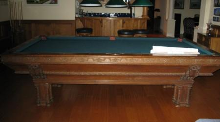 Before Restoration: Antique Lockhart billiards table