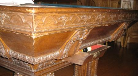 "Before Restoration: Corner top angle of ""The Lockhart"" antique pool table"