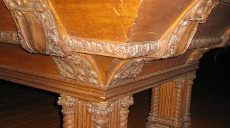 Before Restoration: Corner detail of antique Lockhart pool table