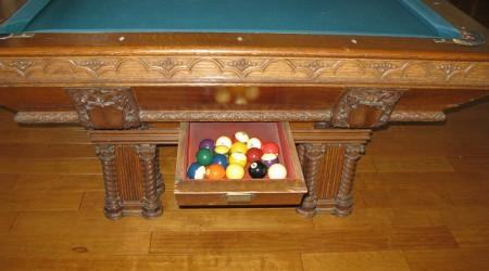 Before Restoration: Lockhart billiards table ball drawer