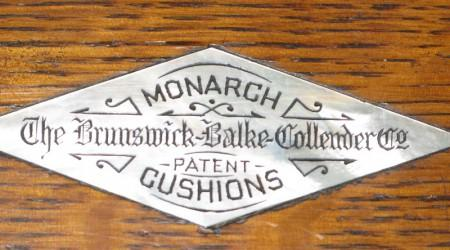 Before Restoration: Nameplate of Lockhart billiards table