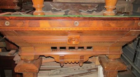 Before Restoration: Original Benedict Spoon Carved antique pool table