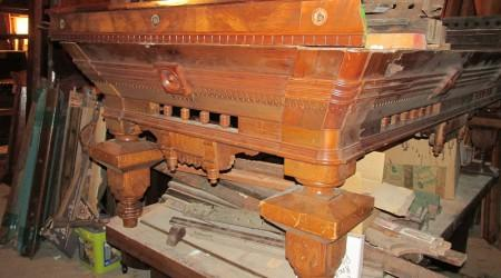 Before Restoration: Antique Benedict Spoon Carved billiards table