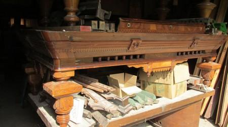 "Before Restoration: Antique billiards table ""Benedict Spoon Carved"""